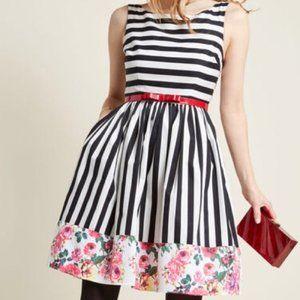 MODCLOTH Miss Mix-It A-Line floral & stripe dress
